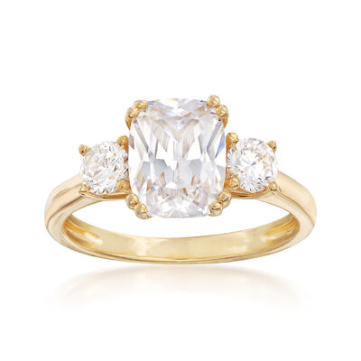 3.50 ct. t.w. CZ Three-Stone Ring in 18kt Yellow Gold Over Sterling Silver, , default
