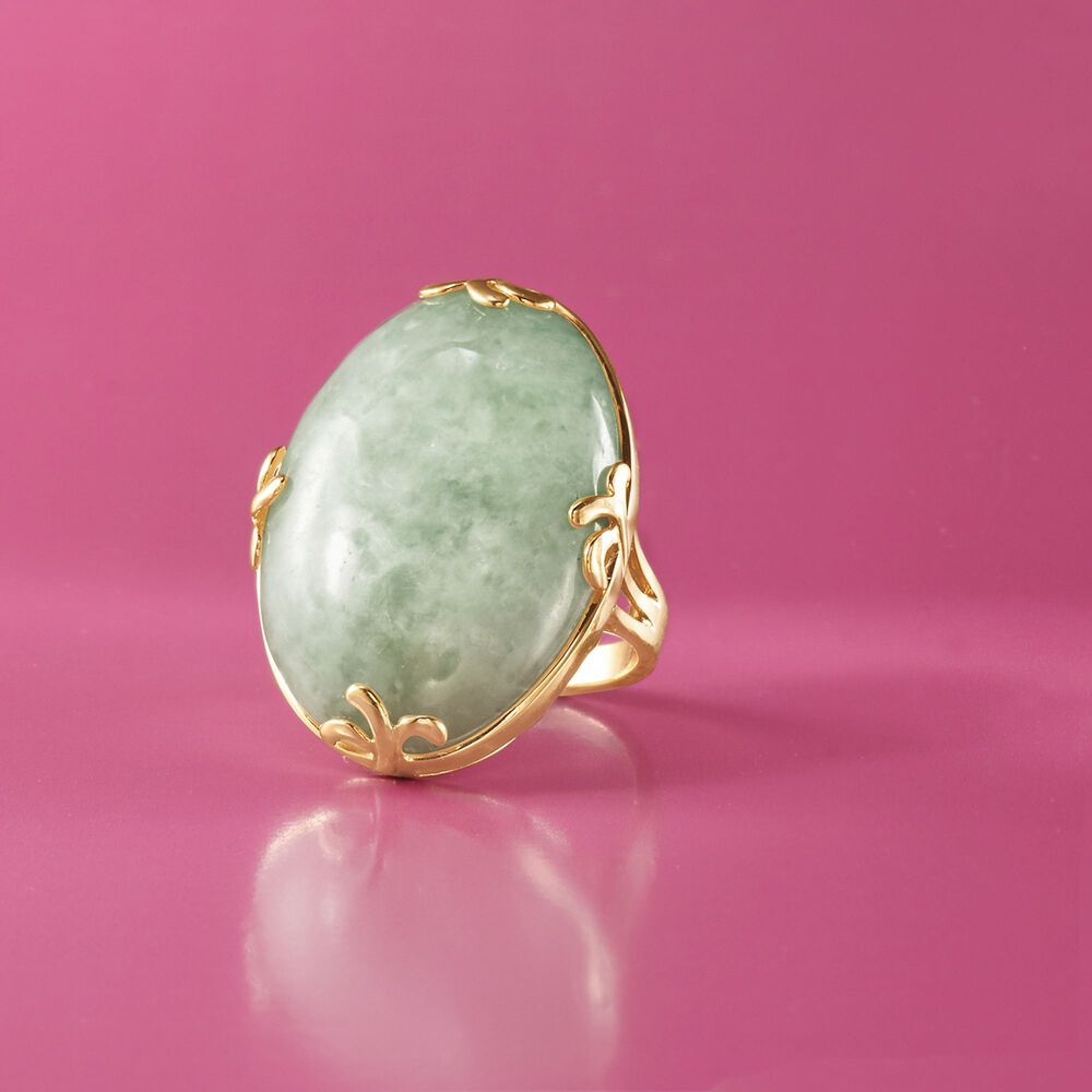 Cabochon Jade Ring in 18kt Gold Over Sterling | Ross Simons