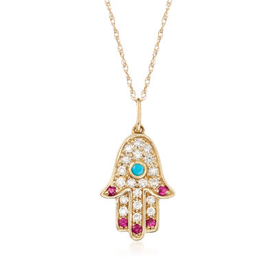 Turquoise and .20 ct. t.w. Diamond Hamsa Hand Pendant Necklace with Ruby Accents in 14kt Yellow Gold, , default