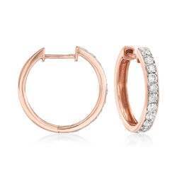 .50 ct. t.w. Diamond Hoop Earrings in 14kt Rose Gold, , default