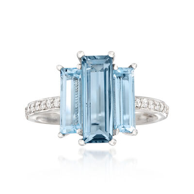 3.30 ct. t.w. Blue Topaz and .14 ct. t.w. Diamond Ring in 14kt White Gold, , default