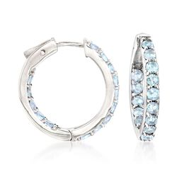 "2.80 ct. t.w. Blue Topaz Inside-Outside Hoop Earrings in Sterling Silver. 7/8"", , default"