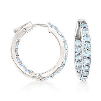 """2.80 ct. t.w. Blue Topaz Inside-Outside Hoop Earrings in Sterling Silver. 7/8"""", , default"""