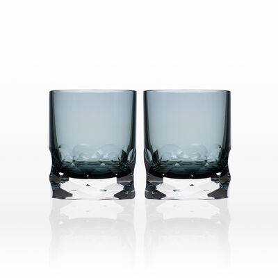 "Rolf Glass ""Vienna"" Set of 2 Smoke Blue Double Old-Fashioned Glasses, , default"