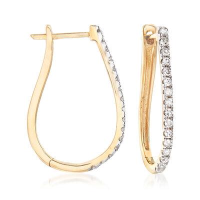 .25 ct. t.w. Diamond Oval Hoop Earrings in 14kt Yellow Gold, , default
