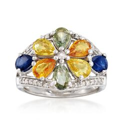 3.60 ct. t.w. Multicolored Sapphire and .22 ct. t.w. Diamond Flower Ring in Sterling Silver, , default