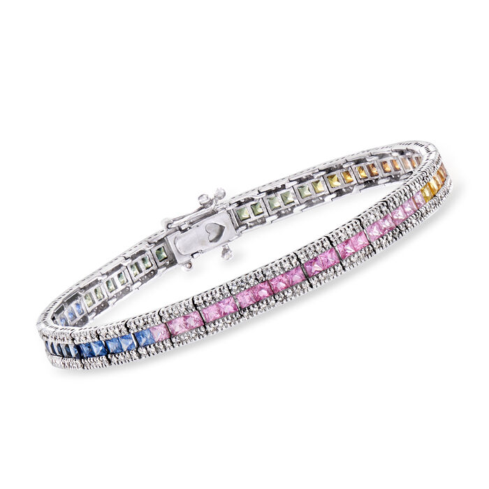"""C. 1990 Vintage 10.35 ct. t.w. Multicolored Sapphire and 1.35 ct. t.w. Diamond Bracelet in 14kt White Gold. 7"""""""
