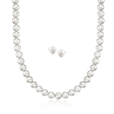 8mm Sterling Silver Bead Necklace with Free Stud Earrings, , default