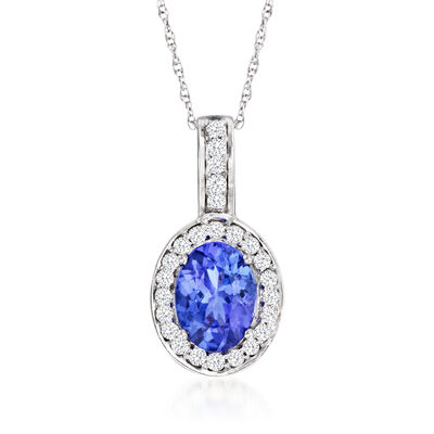 1.15 Carat Tanzanite and .21 ct. t.w. Diamond Pendant Necklace in 14kt White Gold