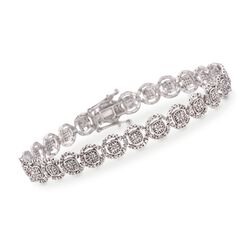 1.00 ct. t.w. Pave Diamond Halo Bracelet in 14kt White Gold, , default
