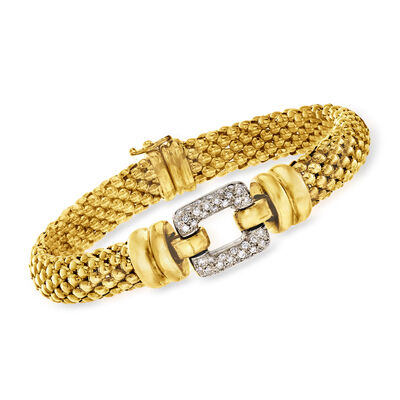 C. 1980 Vintage .65 ct. t.w. Diamond Buckle Bracelet in 18kt Yellow Gold