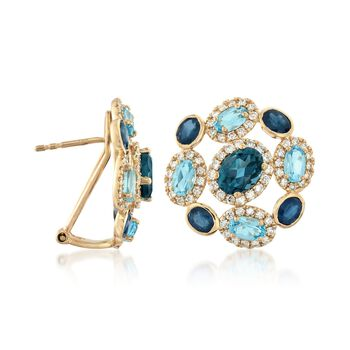 2.40 ct. t.w. Sapphire and 4.00 ct. t.w. Blue Topaz Earrings with 1.00 ct. t.w. Diamonds in 14kt Yellow Gold