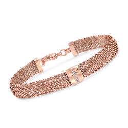 "Rose Gold-Plated Stainless Steel Mesh Bracelet With Crystals. 7.5"", , default"
