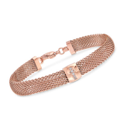 Rose Gold-Plated Stainless Steel Mesh Bracelet with Crystals, , default