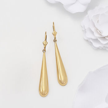14kt Yellow Gold Crowned Teardrop Earrings, , default