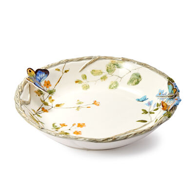Fitz and Floyd Ceramic Tableware Butterfly Fields Collection - Serving Bowl, , default