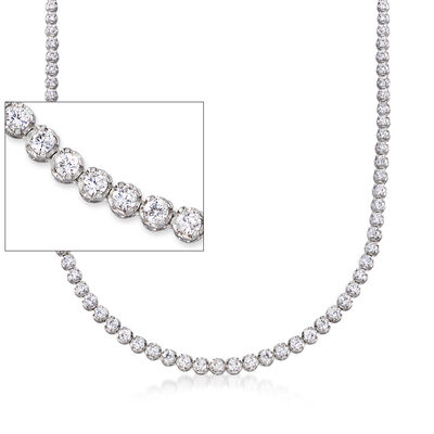 9.70 ct. t.w. Graduated CZ Tennis Necklace in Sterling Silver with Magnetic Clasp, , default