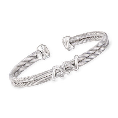"""Phillip Gavriel """"Italian Cable"""" Cuff Bracelet with Diamond Accents in Sterling Silver, , default"""