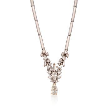 "C. 1990 Vintage 2.00 ct. t.w. Diamond Drop Necklace in 18kt White Gold. 18"", , default"