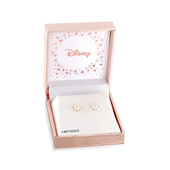 Child's Disney 3-5.5mm Cultured Pearl Mickey Mouse Stud Earrings in 14kt Yellow Gold