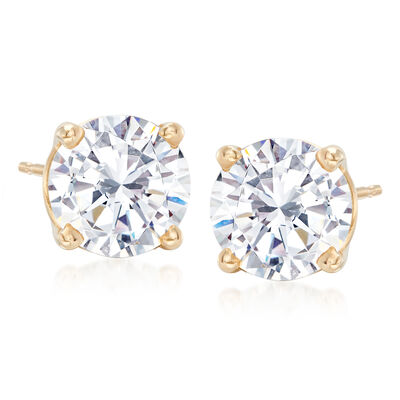 3.00 ct. t.w. CZ Stud Earrings in 14kt Yellow Gold, , default