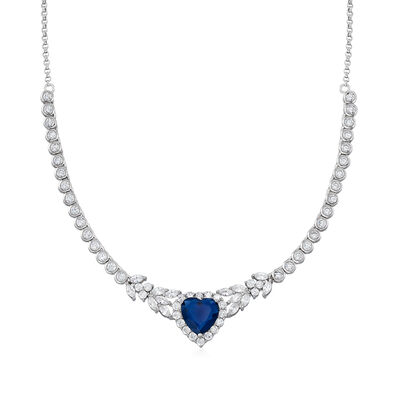 7.25 Carat Simulated Sapphire and 6.22 ct. t.w. CZ Heart Necklace in Sterling Silver, , default