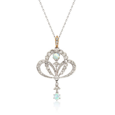 C. 1940 Vintage Opal and 1.90 ct. t.w. Diamond Pendant Necklace in 14kt White Gold, , default