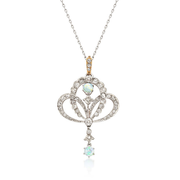 "C. 1940 Vintage Opal and 1.90 ct. t.w. Diamond Pendant Necklace in 14kt White Gold. 24"", , default"