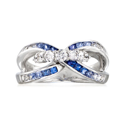 C. 1990 Vintage Jeunet 1.24 ct. t.w. Sapphire and .47 ct. t.w. Diamond Link Ring in 18kt White Gold, , default