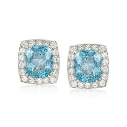 C. 2000 Vintage 17.00 ct. t.w. Aquamarine and 3.60 ct. t.w. Diamond Earrings in 18kt White Gold , , default