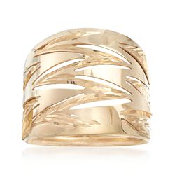 Italian 14kt Yellow Gold Zigzag Wide Ring, , default
