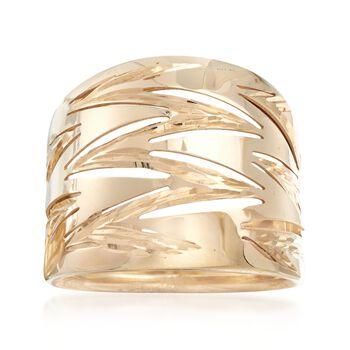 Italian 14kt Yellow Gold Zigzag Wide Ring, , default