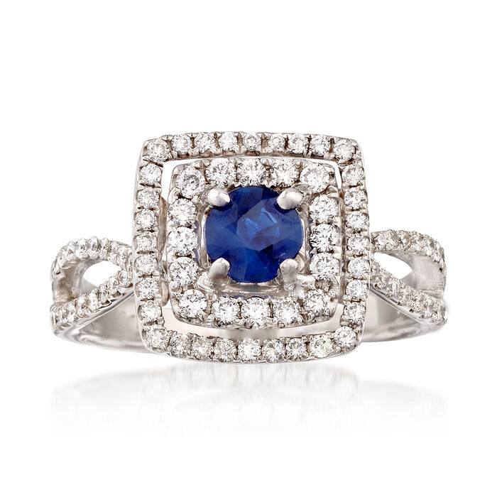 C. 1990 Vintage 1.00 ct. t.w. Diamond and .45 Carat Sapphire  Halo Ring in 18kt White Gold. Size 7, , default