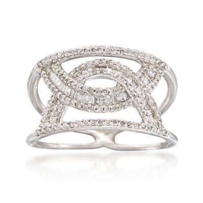 .55 ct. t.w. Diamond Interlocking Arches Ring in 14kt White Gold, , default