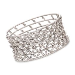 "11.05 ct. t.w. Diamond Bangle Bracelet in 18kt White Gold. 7"", , default"