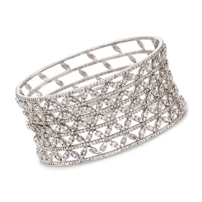 11.05 ct. t.w. Diamond Bangle Bracelet in 18kt White Gold, , default