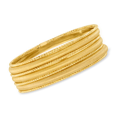 Italian 18kt Gold Over Sterling Silver Jewelry Set: Seven Bangle Bracelets
