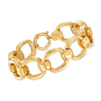 Italian 14kt Yellow Gold Large Square-Link Bracelet, , default