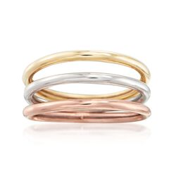 14kt Tri-Colored Gold Jewelry Set: Three Polished Bands, , default
