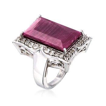 14.00 Carat Ruby and .50 ct. t.w. White Topaz Frame Ring in Sterling Silver. Size 5, , default