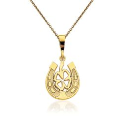 14kt Yellow Gold Good Luck Clover Pendant Necklace, , default