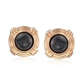 Cabochon Black Onyx Clip-On Earrings in 14kt Yellow Gold, , default