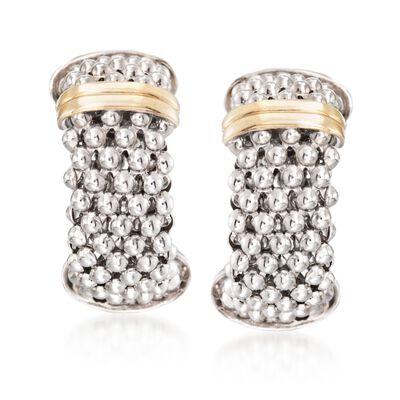 "Phillip Gavriel ""Popcorn"" Sterling Silver and 18kt Gold Hoop Earrings, , default"