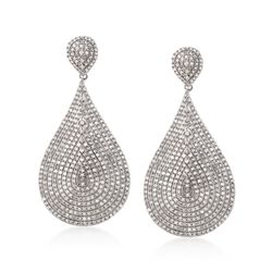 5.00 ct. t.w. Pave Diamond Teardrop Dangle Earrings in  14kt White Gold, , default