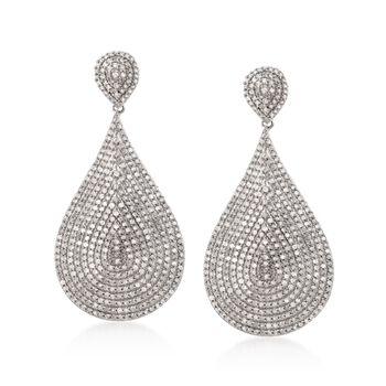 5.00 ct. t.w. Pave Diamond Teardrop Dangle Earrings in  14kt White Gold, , default