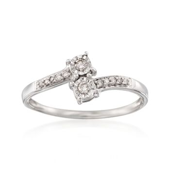 .11 ct. t.w. Diamond Two-Stone Illusion Ring in Sterling Silver, , default