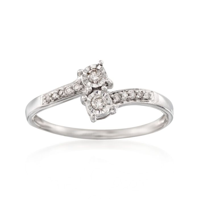 .11 ct. t.w. Diamond Two-Stone Ring in Sterling Silver, , default
