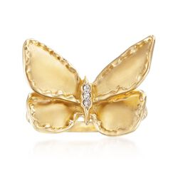 14kt Yellow Gold Over Sterling Silver Butterfly Ring With Diamond Accents, , default