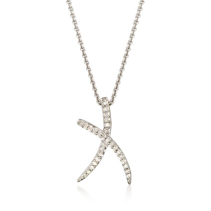 .15 ct. t.w. Diamond X Necklace in Sterling Silver, , default