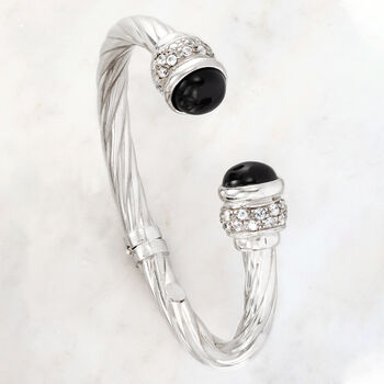 Italian Black Onyx and 1.30 ct. t.w. CZ Twisted Cuff Bracelet in Sterling Silver